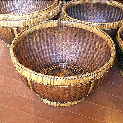 バンブーの編みこみカゴ丸型バスケット収納 C[直径約40cm] アジアン 雑貨 バリ 雑貨 タイ 雑貨 アジアン インテリア