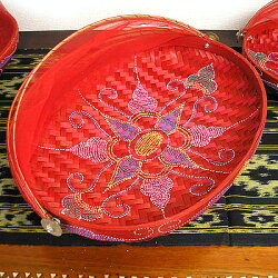 竹の蚊帳かご・四角オレンジLLサイズ30cm