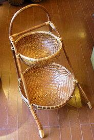 バンブーとラタンの丸カゴ2段[H.70cm] 収納 ボックス アジアン雑貨 バリ 雑貨 タイ雑貨 アジアンインテリア