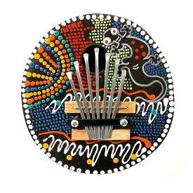 アジアの楽器 ココナッツ カリンバ 木彫り トカゲ模様 ドットペイント 直径15cm アジアン バリ タイ 雑貨 椰子の実 マリンバ 民族 演奏