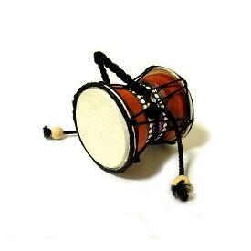 アジア 楽器 でんでん太鼓 でんでんジャンベ ドット ペイント 小太鼓 打楽器 アジアン バリ タイ エスニック 民族 ドラム 雑貨