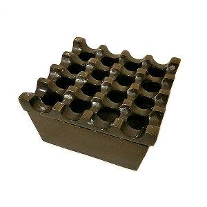 波型デザインの四角いアルミ製灰皿 ブロンズ アッシュトレイ[直径約9cm]ローカル品 アジアン 雑貨 バリ 雑貨 タイ 雑貨 アジアン インテリア