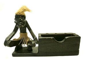 カード ホルダー 木製 木彫り 原人 ペン 立て スタンド アンティーク アジアン バリ タイ エスニック 雑貨 インテリア イリアンジャヤ オブジェ