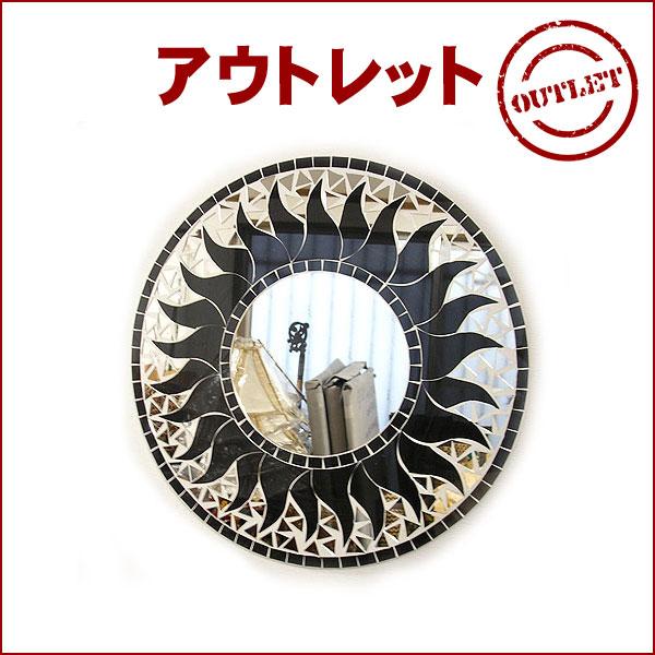 理由あり アウトレット 壁掛け バリ モザイク ミラー M 丸型 黒 太陽 直径40cm アジアン バリ タイ 雑貨 アジアン インテリア