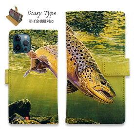 スマホケース 手帳型 iPhone12 mini iPhone12 Pro Max iPhone11 Pro Max 全機種対応 カード収納 マグネット iPhoneXs Max iPhoneXR iPhone SE 第二世代 Xperia 1 Galaxy AQUOS ARROWS 釣り 魚 ルアー 八百板浩司 メイフライにかかったブルックトラウト
