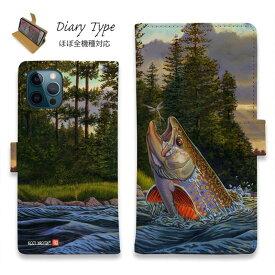 スマホケース 手帳型 iPhone12 mini iPhone12 Pro Max iPhone11 Pro Max 全機種対応 カード収納 マグネット iPhoneXs Max iPhoneXR iPhone SE 第二世代 Xperia 1 Galaxy AQUOS ARROWS 釣り 魚 ルアー 八百板浩司 Big Fish on Small Fly ブラウントラウトとの出会い