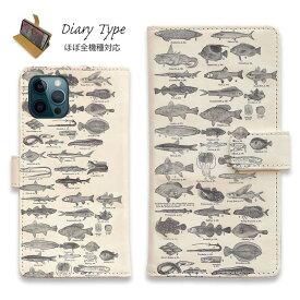 スマホケース 手帳型 iPhone12 mini iPhone12 Pro Max iPhone11 Pro Max 全機種対応 カード収納 マグネット iPhoneXs Max iPhoneXR iPhone SE 第二世代 Xperia 1 Galaxy AQUOS ARROWS 釣り 魚 ルアー 魚図鑑 1890年版