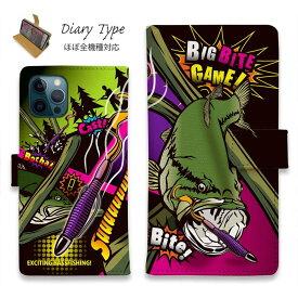 スマホケース 手帳型 iPhone12 mini iPhone12 Pro Max iPhone11 Pro Max 全機種対応 カード収納 マグネット iPhoneXs Max iPhoneXR iPhone SE 第二世代 Xperia 1 Galaxy AQUOS ARROWS 釣り 魚 ルアー FISH MAN ビッグバイトゲーム!