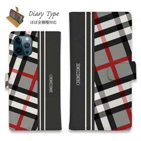 スマホケース 手帳型 iPhone12 mini iPhone12 Pro Max iPhone11 Pro Max 全機種対応 カード収納 マグネット iPhoneXs Max iPhoneXR iPhone SE 第二世代 Xperia 1 Galaxy AQUOS ARROWS Genuine チェック柄 グレー&グレー