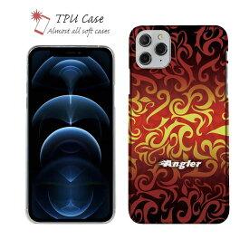 ソフトケース iPhone12 mini iPhone12 Pro Max 全機種対応 クリアケース iPhone11 Pro Max iPhone8 Plus iPhoneXs Max iPhoneXR Xperia Galaxy AQUOS sense ARROWS 柔らかい 釣り 魚 ルアー セット TPU 透明 Fire Angler ファイヤーパターン2