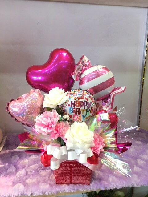 商品NO100送料無料 Congrat'sバルーン電報 ご開店祝いに贈ろう バルーン&造花アレンジ サンクスギフト バースデーギフト おめでとうギフト 周年祝い誕生日 結婚式 バルーンギフト