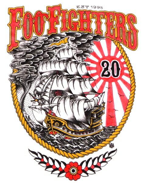 /FOO FIGHTERS フーファイターズ20th ANNIVERSARY SHIP オフィシャル バンドTシャツ / 2枚までメール便対応可 / あす楽対応