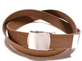 /ブラウン(薄茶)32ミリ 綿 GIベルト ガチャベルト ローラーバックルベルト / 日本製 / フルサイズ対応 / 3本までメール便対応可