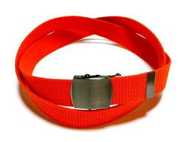 /ブラックニッケルサテンバックル / オレンジ32ミリ 綿 GIベルト ガチャベルト ローラーバックルベルト / 日本製 / フルサイズ対応 / 3本までメール便対応可