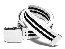 /ホワイト×ブラックダブルラインガチャベルトアクリル製 32ミリGIローラーバックルベルト/ 3本までメール便対応可 / 日本製 / フルサイズ対応