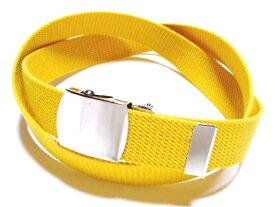 /イエロー(黄色)32ミリ 綿 GIベルト ガチャベルト ローラーバックルベルト / 日本製 / フルサイズ対応 / 3本までメール便対応可