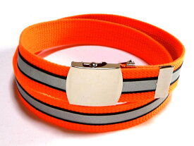 反射ベルト/蛍光オレンジガチャベルトアクリル製 32ミリGIローラーバックルベルト/ 3本までメール便対応可 / 日本製 / フルサイズ対応