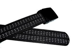 【日本製】38ミリナイロン・プラスティックバックル(樹脂バックル)ベルト☆反射ラインブラック【フルサイズ対応】【あす楽対応】
