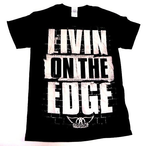 ☆☆☆【タイムセール】【2枚までメール便対応可】AEROSMITH エアロスミスLIVIN ON THE EDGE MENS TEE オフィシャル バンドTシャツ【あす楽対応】