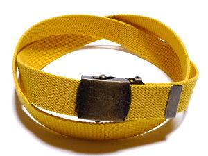 アンティークバックルイエロー (黄色)32ミリ 綿 GIベルト ガチャベルト ローラーバックルベルト 1梱包3本までメール便対応可 日本製 フルサイズ対応
