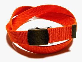 /アンティーク / オレンジ32ミリ 綿 GIベルト ガチャベルト ローラーバックルベルト / 日本製 / フルサイズ対応 / 3本までメール便対応可
