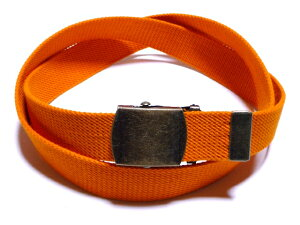 アンティークバックルレスキューオレンジ32ミリ 綿 GIベルト ガチャベルト ローラーバックルベルト 1梱包3本までメール便対応可 日本製 フルサイズ対応