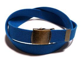/アンティーク / ブルー(青)32ミリ 綿 GIベルト ガチャベルト ローラーバックルベルト / 日本製 / フルサイズ対応 / 3本までメール便対応可