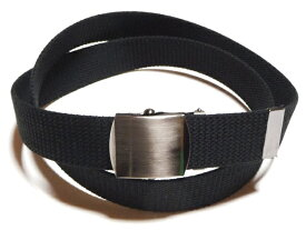 ブラックニッケルサテンバックルブラック (黒)32ミリ 綿 GIベルト ガチャベルト ローラーバックルベルト 1梱包3本までメール便対応可 日本製 フルサイズ対応