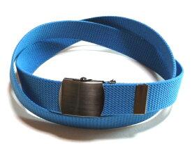 ブラックニッケルサテンバックルブルー32ミリ 綿 GIベルト ガチャベルト ローラーバックルベルト 1梱包3本までメール便対応可 日本製 フルサイズ対応