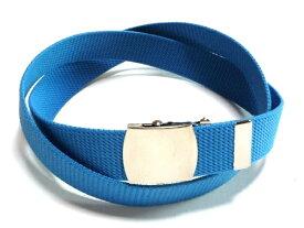 ブルー32ミリ 綿 GIベルト ガチャベルト ローラーバックルベルト 1梱包3本までメール便対応可 日本製 フルサイズ対応