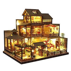 moin moin 1/24 ドールハウス ミニチュア 手作りキット セット もみじが印象的な日本庭園のある 老舗 旅館 - 雅泉 (まさみ) - LEDラ