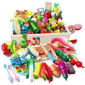 Button Moon おままごとセット 木製おもちゃ モンテッソーリ 46PCS キッチン玩具 食品衛生法検査済 切る遊び 大きい木箱付き お肉&