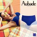【50%OFF】【CS24】フランス−Aubade− オーバドゥ水着Sweet Rumba(スウィートルンバ)Waveカラー(ブルー)ハイウエストショーツ