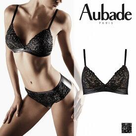 【50%オフ】フランス【Aubade】オーバドゥCUIR DE ROSEクリールドゥローズトライアングルブラ LAQUE(ブラック)カラー(FE10)ブラジャー