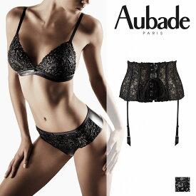 【50%オフ】フランス【Aubade】オーバドゥCUIR DE ROSEクリールドゥローズガーターベルト LAQUE(ブラック)カラー(FE52)ガーターベルト
