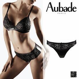 【50%オフ】フランス【Aubade】オーバドゥCUIR DE ROSEクリールドゥローズタンガ LAQUE(ブラック)カラー(FE26)タンガ