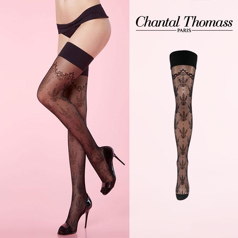 【50%オフ】フランス【ChantalThomass】シャンタルトーマスCalaisienne Stay-ups ステイアップ BlackカラーTT6130Black カラー