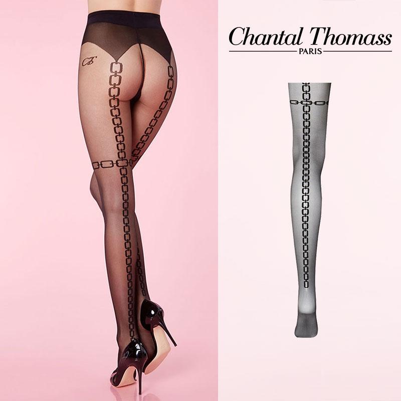 【50%オフ】フランス【ChantalThomass】シャンタルトーマスChains Pantyhose ストッキング 25D TT2360Black カラー