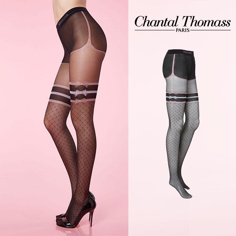 【50%オフ】フランス【ChantalThomass】シャンタルトーマスSport Chic Pantyhose ストッキング Black-Pink カラーTT6190Black カラー