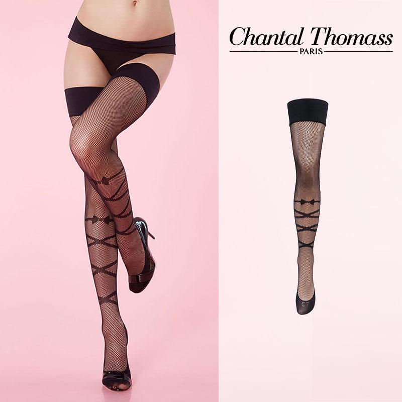 【50%オフ】フランス【ChantalThomass】シャンタルトーマスMusic hole fishnet Stay-ups タイツ Black カラー TT4490