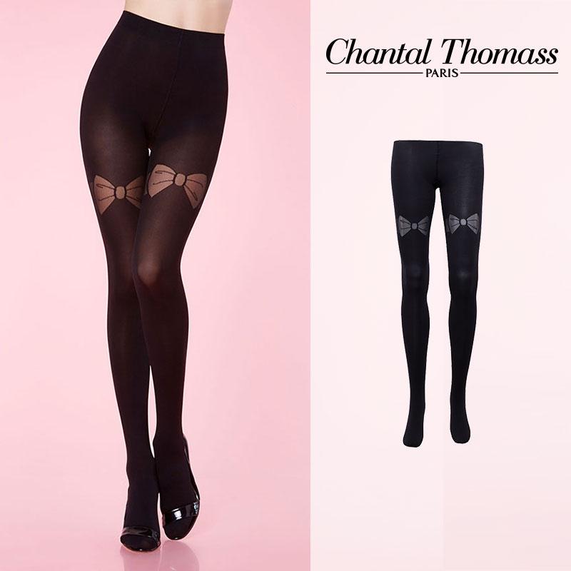 【50%オフ】フランス【ChantalThomass】シャンタルトーマスGarter bow Pantyhose タイツ Blackカラー TT4370