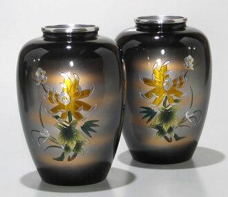 供佛龕使用的花瓶|鋁製花瓶太夏目型菊四君子彫金7號(一對)