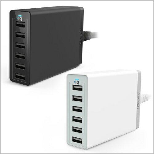 Anker PowerPort 6 60W 6ポート USB急速充電器 ACアダプター iPhone / iPad / Xperia / Galaxy 他対応 【PowerIQ搭載】 (ブラック・ホワイト)