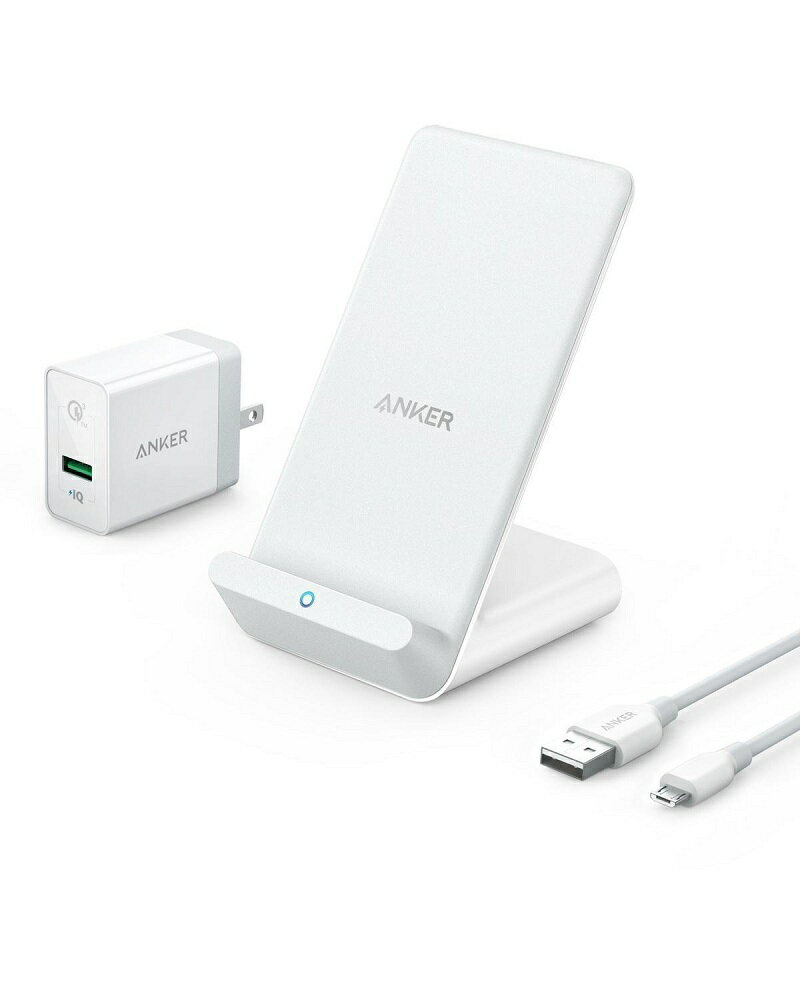 Anker PowerWave 7.5 Stand(7.5W ワイヤレス充電器)【Quick Charge 3.0対応急速充電器付属】iPhone X / 8 / 8 Plus、Galaxy各種対応