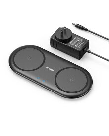 Anker PowerWave 10 Dual Pad, Qi ワイヤレス充電器 iPhone XS/XS Max/XR/X / 8 / 8 Plus、Galaxy S10 / S10+ / S9 / S9+、AirPods、その他Qi対応機種 対応 5W & 7.5W & 10W 出力 置くだけ充電 ACアダプター付属 ブラック