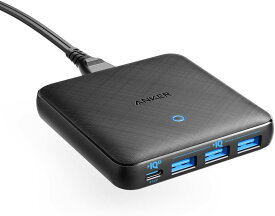急速充電器 Anker PowerPort Atom III Slim 4ポート PD対応 65W 4ポートUSB-C PowerIQ3.0搭載 Power Delivery 対応 GaN(窒素ガリウム)採用 iPhone 11/11 Pro/11 Pro Max/XS、 MacBook Air 2013、MacBook Pro 15、その他USB-C機器対応