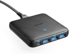 急速充電器 Anker PowerPort Atom III Slim 4ポート PD対応 65W 4ポートUSB-C PowerIQ3.0搭載 Power Delivery 対応 GaN(窒素ガリウム)採用 iPhone 11/11 Pro/11 Pro Max/XS、 MacBook Air 2013、MacBook Pro 15、その他USB-C機器対応