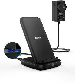 Anker PowerWave 10 Stand with 2 USB-A Ports, ワイヤレス充電器 Qi 認証 iPhone 11 / 11 Pro / 11 Pro Max/XR/X / 8 / 8 Plus Samsung Galaxy 対応 5W & 7.5W & 10W 出力 置くだけ充電 ACアダプター付属 ブラック