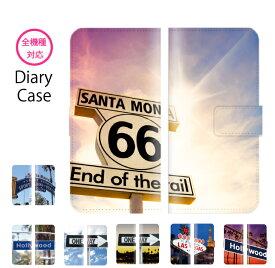 スマホケース 全機種対応 手帳型 iPhone11 pro XR XS iPhone8 ルート66 route66 ラスベガス 標識 ハリウッド hollywood 景色 夜景 サンタモニカ Galaxy s10 S7 s9 P30 P20 huawei SOV40 SH-04L AQUOS sense2 SH-01L so-02l R3 SC-04L Xperia XZ Ace SO-02L nova