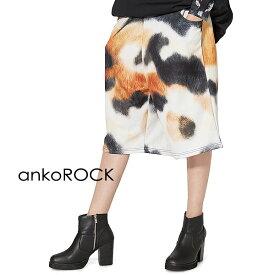 ankoROCK アンコロック ボトムス メンズ パンツ レディース ハーフパンツ ユニセックス 服 ブランド ショートパンツ ひざ下 大きいサイズ ビッグシルエット プリント 猫 総柄